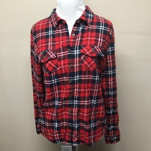 Active USA Red Flannel Plaid Button Down Large